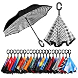 umbrella uv protection - BAGAIL Double Layer Inverted Umbrellas Reverse Folding Umbrella Windproof UV Protection Big Straight Umbrella for Car Rain Outdoor With C-Shaped Handle White Dot