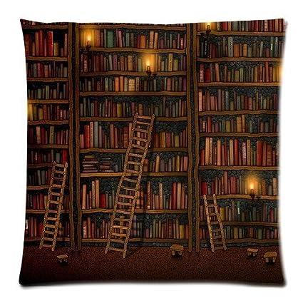 PocaBlife Umak Custom Funny Creative Hipster Old Library Bookshelf Design Zippered Pillowcase DIY Pillowslip Decorate Sofa