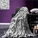 Video Games park blanket Monochrome Sketch Style Gaming Design Racing Monitor Device Gadget Teen 90s soft blanket Black White size:59''x35.5''