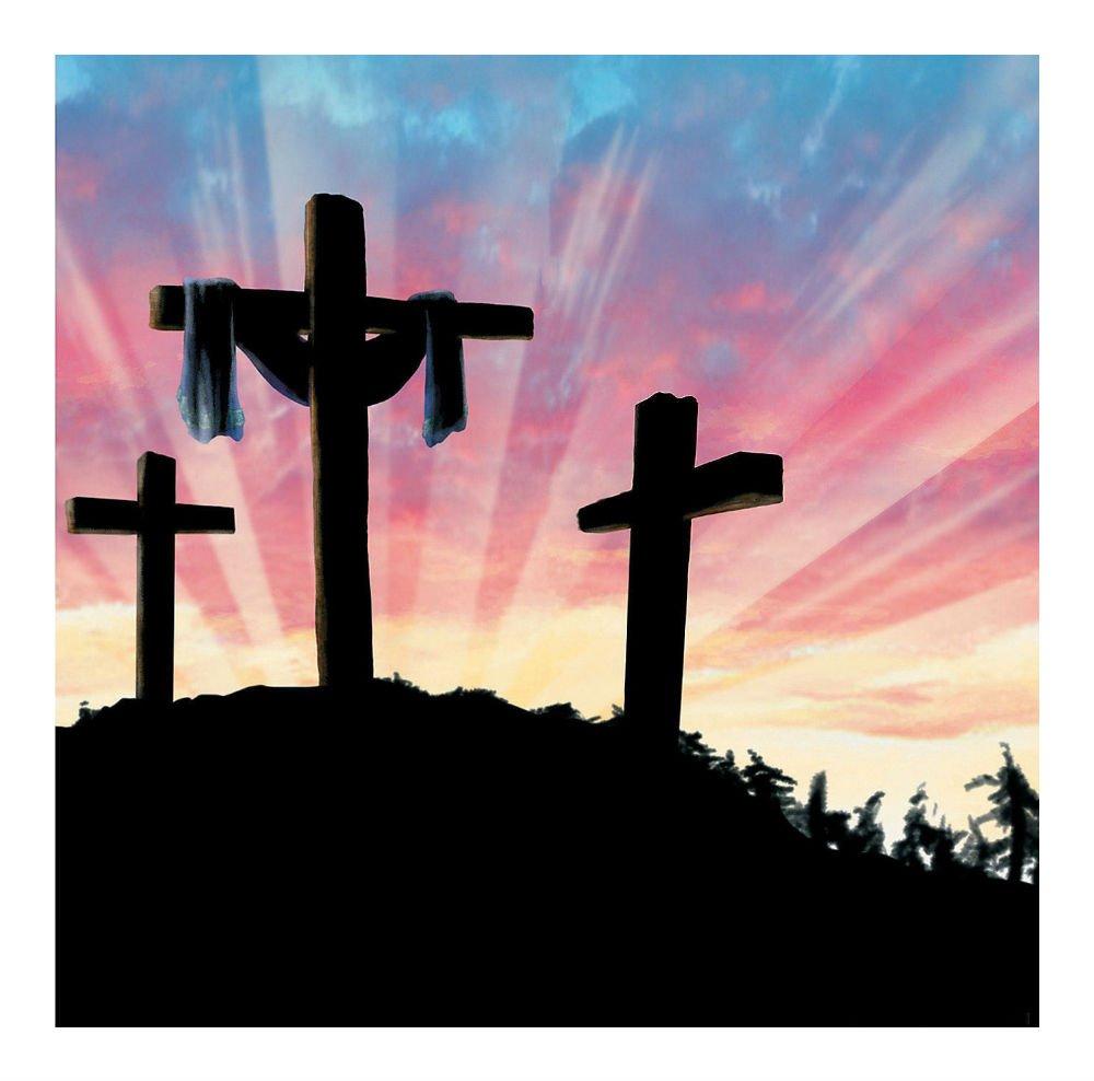 Easter 3 Crosses Resurrection Backdrop Banner Photo Prop Mural Calvary Christian