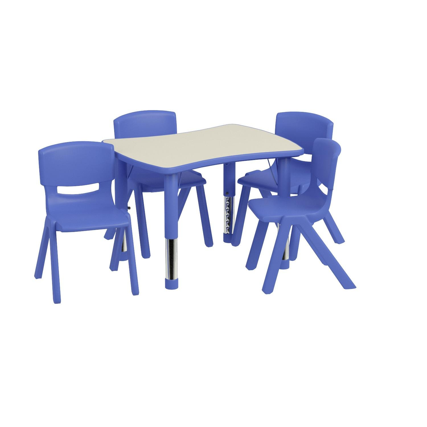 Flash Furniture 21.875''W x 26.625''L Rectangular Blue Plastic Height Adjustable Activity Table Set with 4 Chairs by Flash Furniture