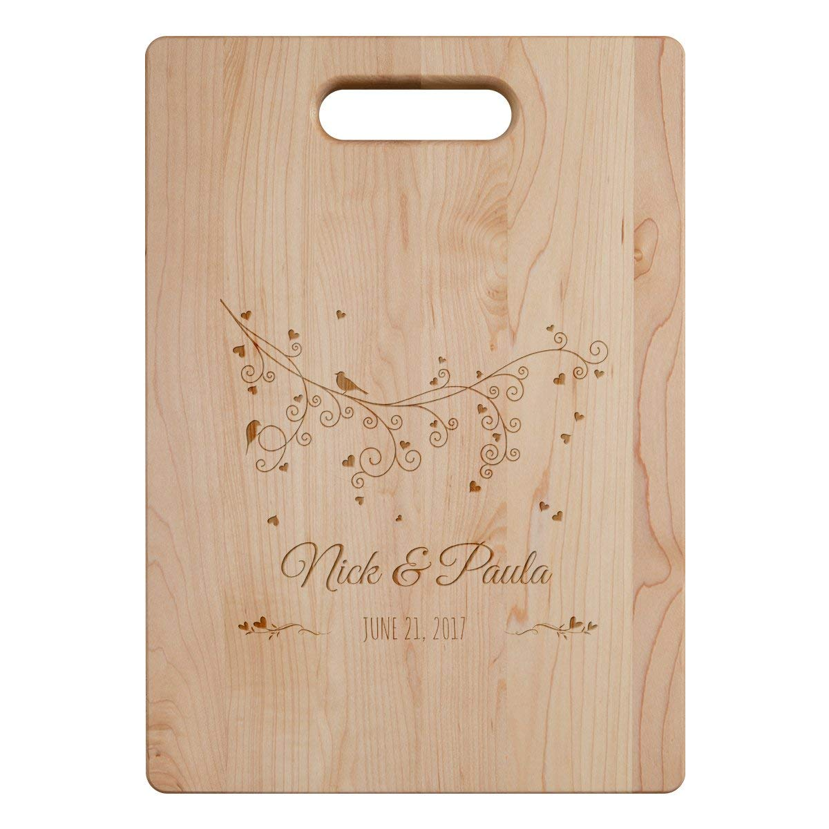 Personalized Cutting Board - Love Birds - Custom Laser Engraved with Your Name/Date, Maple, Large