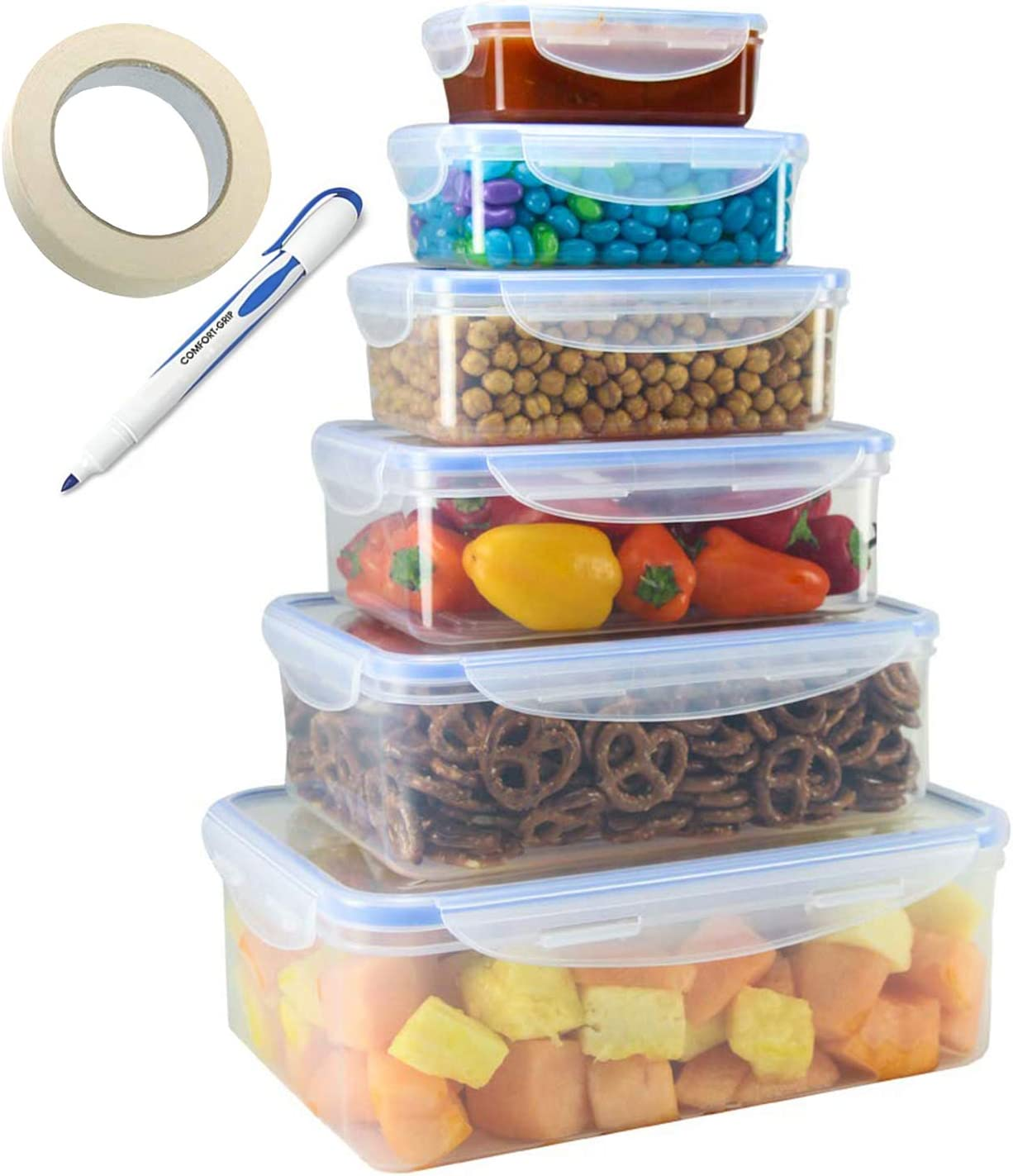TigerChef Food Storage Container Set With Airtight Leak Proof Snap Lock Lids - BPA Free, Microwave, Freezer and Dishwasher Safe - 12 Piece Containers Set Includes Freezer Labels And Marker