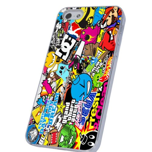 Sticker Bomb Funky Design iphone 5 5S Case/Back cover Metal and Hard Plastic Case-Clear Frame