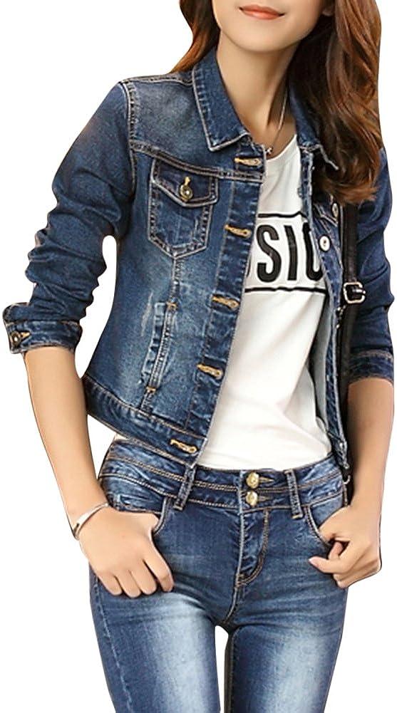 Femme /Él/égant Blouson Denim Jacket Slim Manches Longues Coats Manteaux Lav/é Jeans Veste