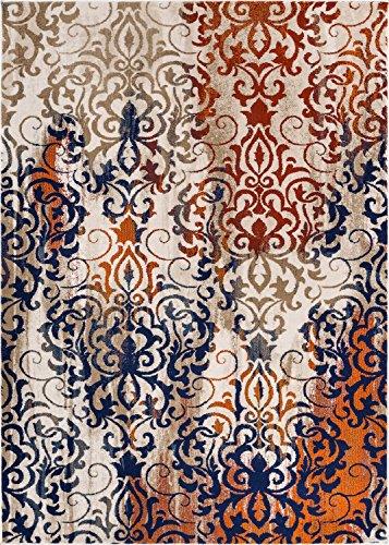 "Ipek Watercolor Damask Beige w/ Blue & Splash of Orange Vintage Floral European Lattice Area Rug 8 x 11 ( 7'10"" x 10'6"" ) Neutral Modern Soft & Plush"