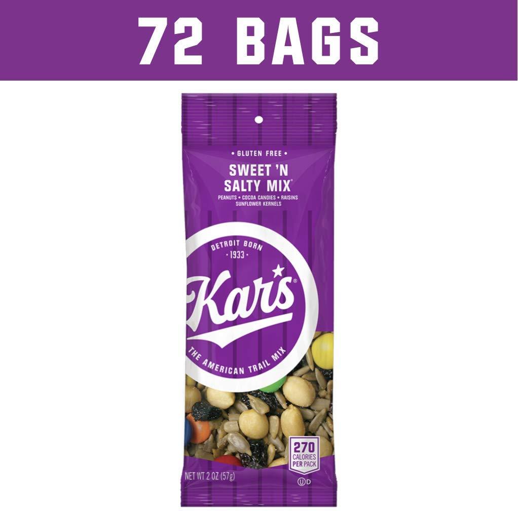 Kar's Sweet 'N Salty Trail Mix 2 oz Single Serving Bags - Satisfying Snack of Peanuts, Sunflower Kernels, Raisins & Chocolate Gems (72 Pack)