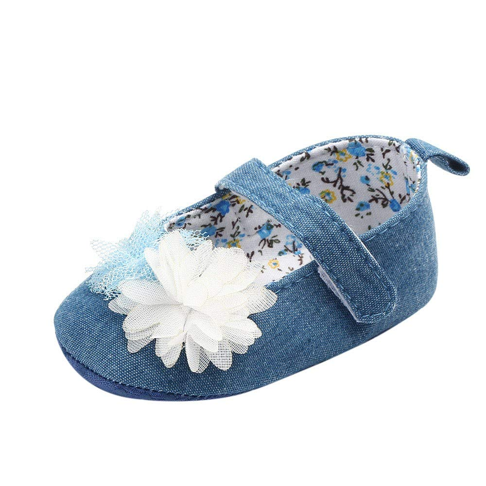 NUWFOR Newborn Baby Cute Girls Canvas Flower Single First Walker Soft Sole Shoes(Blue,0-3Months) by NUWFOR (Image #1)