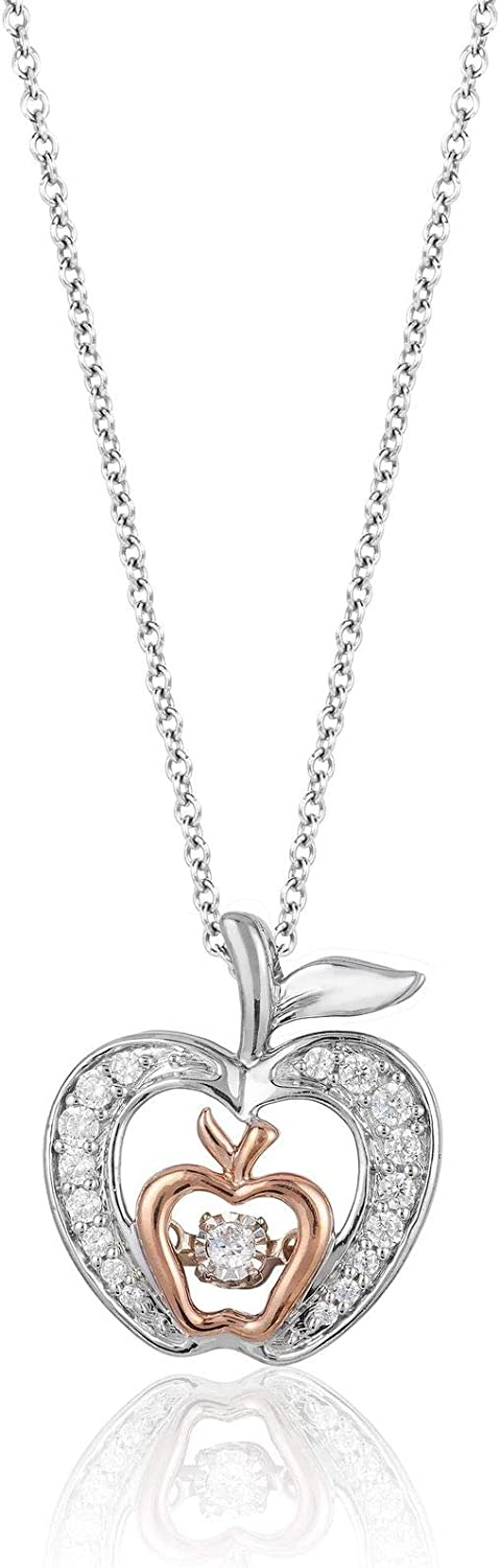 Jewelili Enchanted Disney Fine Jewelry Sterling Silver and 10K Rose Gold 1/5 CTTW Diamond and Garnet Snow White Apple Necklace.