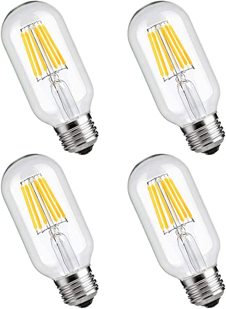 T45 Vintage Edison Led Bulb 6w 60w Equivalent Dimmable Led Light Bulbs Filament Led Bulb 6w Antique Style Light Bulbs 2700k Warm White E26 Medium Base Lamp 550lm 4 Pack