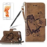 Girlyard for iPod Touch 5th / 6th Generation Wallet Leather Case,Love Heart Floral Butterfly Design Premium Soft PU Leather +TPU Silicone Inner Bumper Flip Case Magnetic Wallet Full Protection Case Cover with Magnetic Clasp, Wrist Strap and Card Slots Holder-Brown