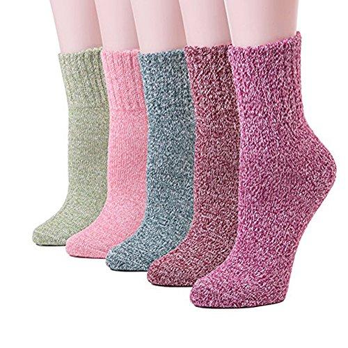 YUYUGO 5 Pairs Womens Wool Socks Soft Warm Winter Knitted Socks for Women