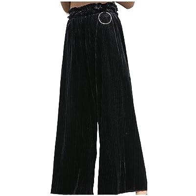 Abetteric Women Stretchy Pleated Oversized Plus Velvet Palazzo Trouser