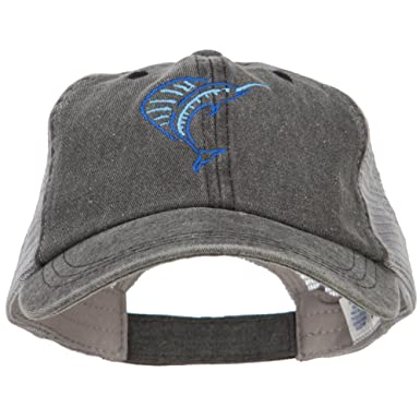 f2005a7cc4dbc E4hats Blue Marlin Outline Embroidered Washed Trucker Cap - Black Grey OSFM  at Amazon Men s Clothing store