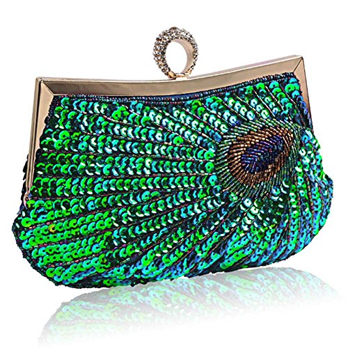 Vintage Handbag Peacock BAOBAO Evening Party Clutch Glitter Wedding Bag Green Sequins Purse f8fnqaI