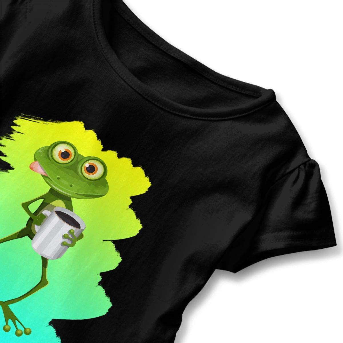 The Frog Drink Tea Cute Short Sleeve Clothes for Boy Girl Dress Cotton T-Shirt Unique Bodysuit Romper,One-Piece Jumpsuit