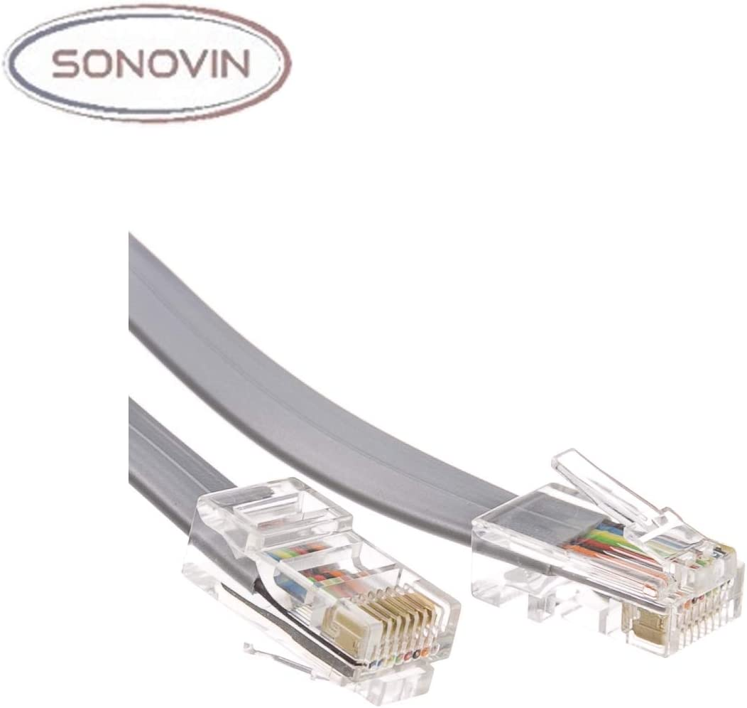 Telephone Cord Sonovin RJ45 8P // 8C Data Silver Satin 14 Foot Color:Silver Straight Pack of 5