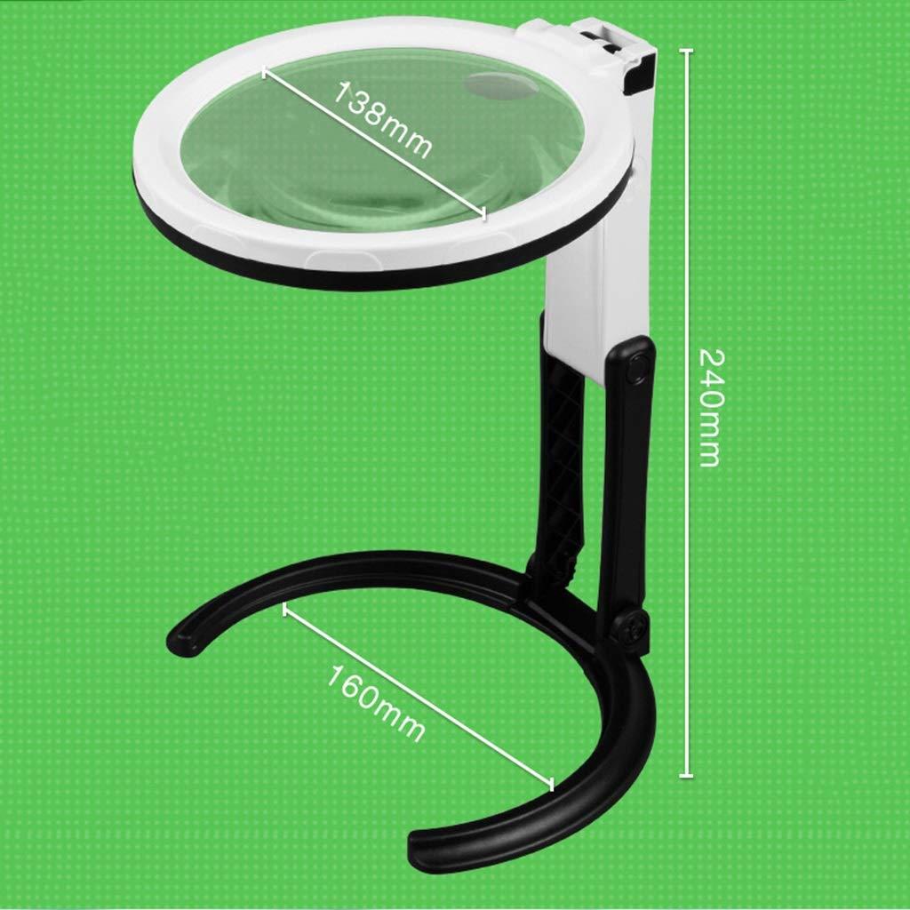 Lupa grande iluminada LED 6X 10X con soporte Dise/ño plegable con l/ámpara de 12 LED y lente de 13,8 cm de lente de manos libres con lente de jumbo con luz para leer cerca del trabajo Degeneraci/ón macul