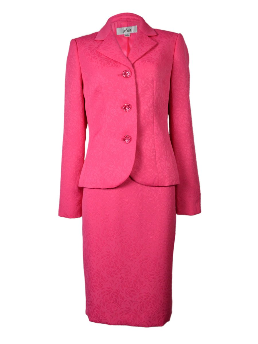 Women's 2 Piece Jacquard Business Jacket Skirt Suit Set, Petite Size 14P, Pink