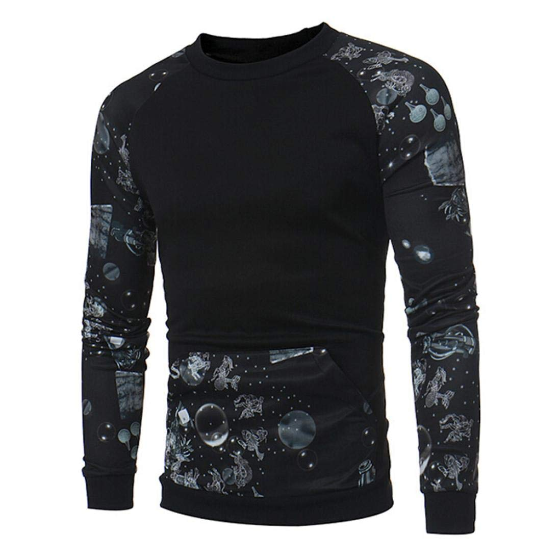 vermers Clearance Men's Fashion Stitching Printed Long Sleeve T Shirt - Mens Casual O-Neck Pocket Top Blouse(XL, Black)