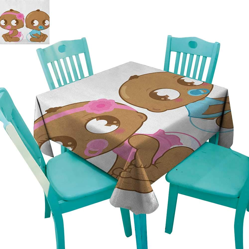 longbuyer Gender Reveal,Customized Tablecloth,Cute African American Baby Girl Boy in Diaper Kids Print,36''x36'',Suitable for Kitchen, dustproof Desktop Decoration