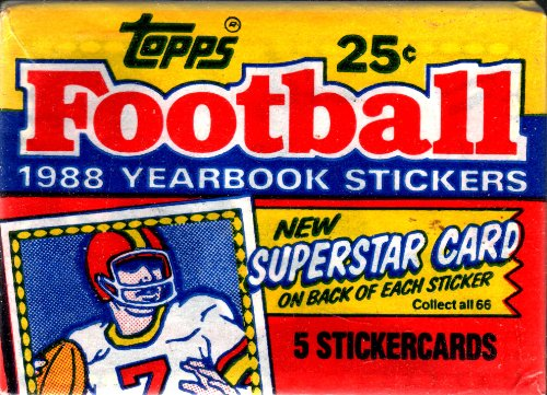 Topps Super Football - Topps Football 1988 Yearbook Single Pack of 5 Stickers with Superstar Trading Card on Back of Each Sticker