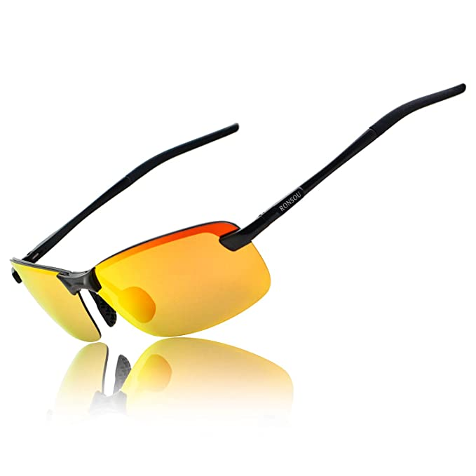 70fd76c02e Ronsou Men UV400 Rimless Aluminium-Magnesium Polarized Sunglasses Mirrored  For Driving Fishing Golf Outdoor black