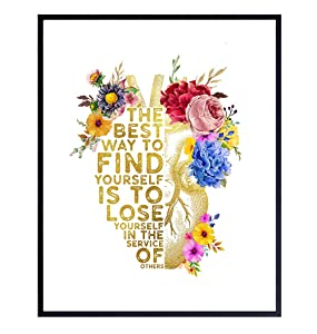 Inspirational Quote - Appreciation, Graduation Gift for Nurse Practitioner, Teacher, RN, Physician Assistant, EMT, Doctor - Heart Anatomy Wall Art - Floral Decor, Medical Office Print - 8x10 Unframed