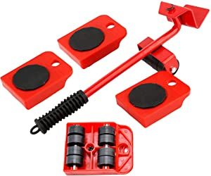 Furniture Lifter Furniture Slides Kit, Heavy Furniture Moving Roller Set Portable Appliance Roller Suitable for Sofas, Refrigerators Moving & Lifting System Tool Set, Maximum Load Weight 330Lbs 5Pack
