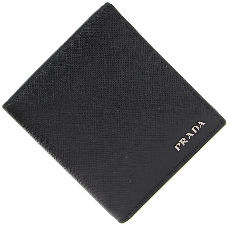 PRADA(プラダ) 二つ折り札入れ 2MO004 ブラック サフィアーノレザー 中古 黒 革 ロゴ メンズ PRADA [並行輸入品] B07F5D8HJK  -