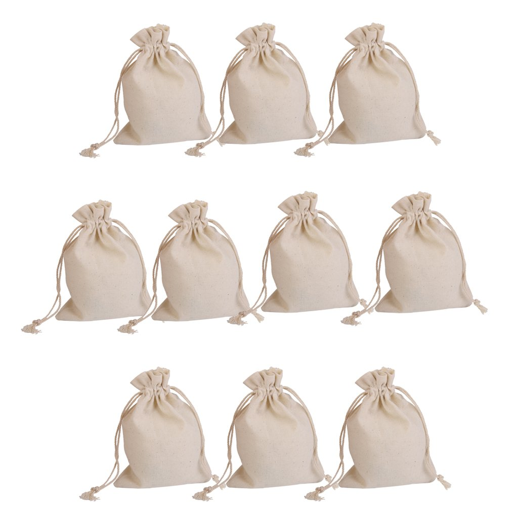10pcs Linen Jute Drawstring Gift Bags Sacks Party Favors 10 x 14cm Generic