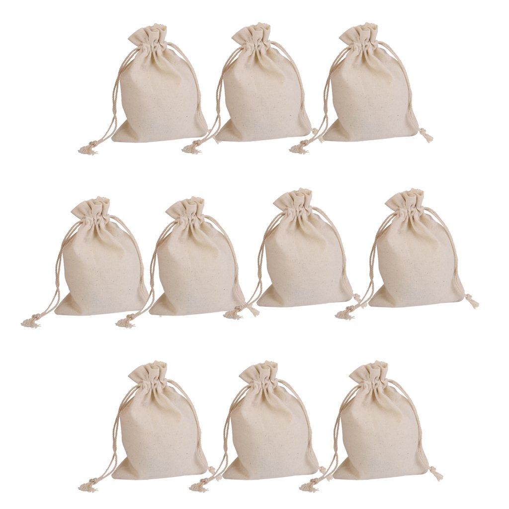 10pcs Bolsas de Regalo Saco de Joyas de Arpillera Cordón para Boda genérico