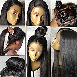 Human Hair Wigs Full Lace Wigs 130% Silky Straight Virgin Brazilian Human Hair Wigs Glueless Full Lace Wigs for Women with Baby Hair Full Lace Wig for High Ponytail Human Hair Wigs 10″#1