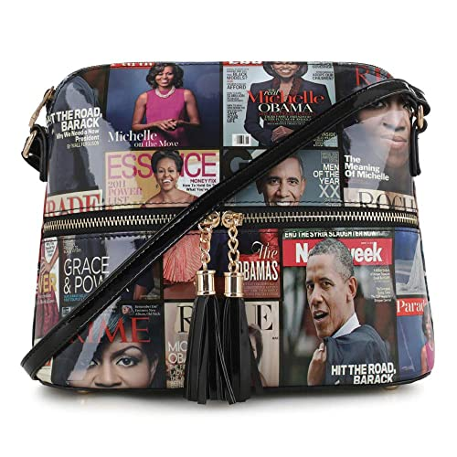 Glossy Magazine Cover Lightweight Medium Dome Crossbody Bag Michelle Obama Purse | Black