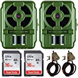 Primos 10MP Proof Cam 01 HD Trail Camera with Low-Glow LEDs, Green - Set of 2 + Memory Cards + Cable Locks