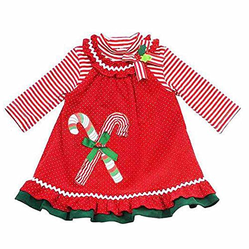 Rare Too! Infant Toddler Girls Red Polka Dot Christmas Jumper Candycane Dress 3T
