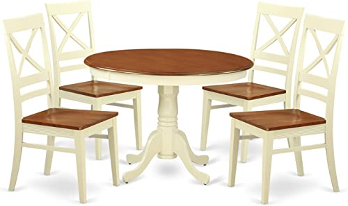 HLQU5-BMK-W 5 Pc set with a Round Table and 4 Leather Kitchen Chairs in Buttermilk and Cherry .