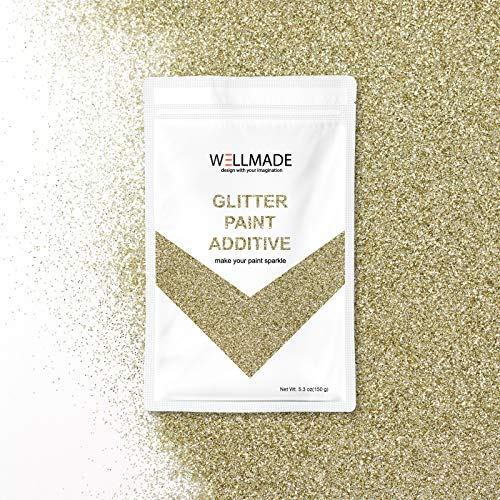 Glitter Paint Additive for Paint-Wall Interior/Exterior, Ceiling, Wood, Metal, Varnish, Dead Flat, DIY Art and Craft 150g/5.3oz + 1PC Free Buffing PAD (Champagne -
