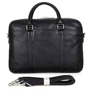 Circlefly Cuero Tote pulgadas computadora bolsa negocio hombre bolso negro cartera de los hombres: Amazon.es: Hogar