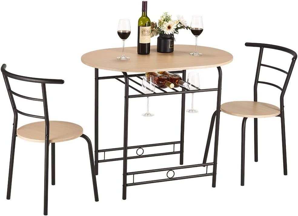Papajet 3 PCS Dining Set Metal Frame with Shelf Storage Round Table and Chair Set with Wine Rack 2 Chairs and 1 Table for Kitchen Dining Room and Restaurant Natural