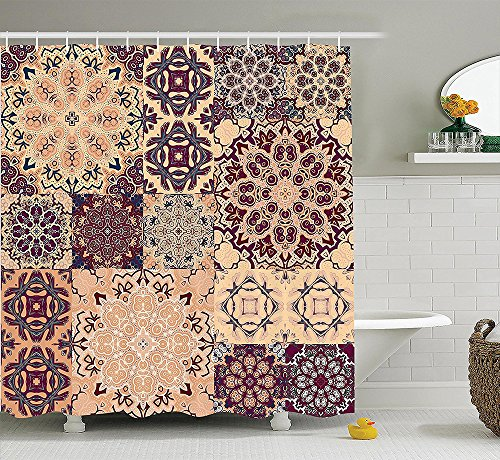 Moroccan Decor Collection Large Set of Colorful Vintage Ceramic Tiles with Arabesque Authentic Floral Forms Polyester Fabric Bathroom Shower Curtain Peach Orange (Authentic Joker Costume)