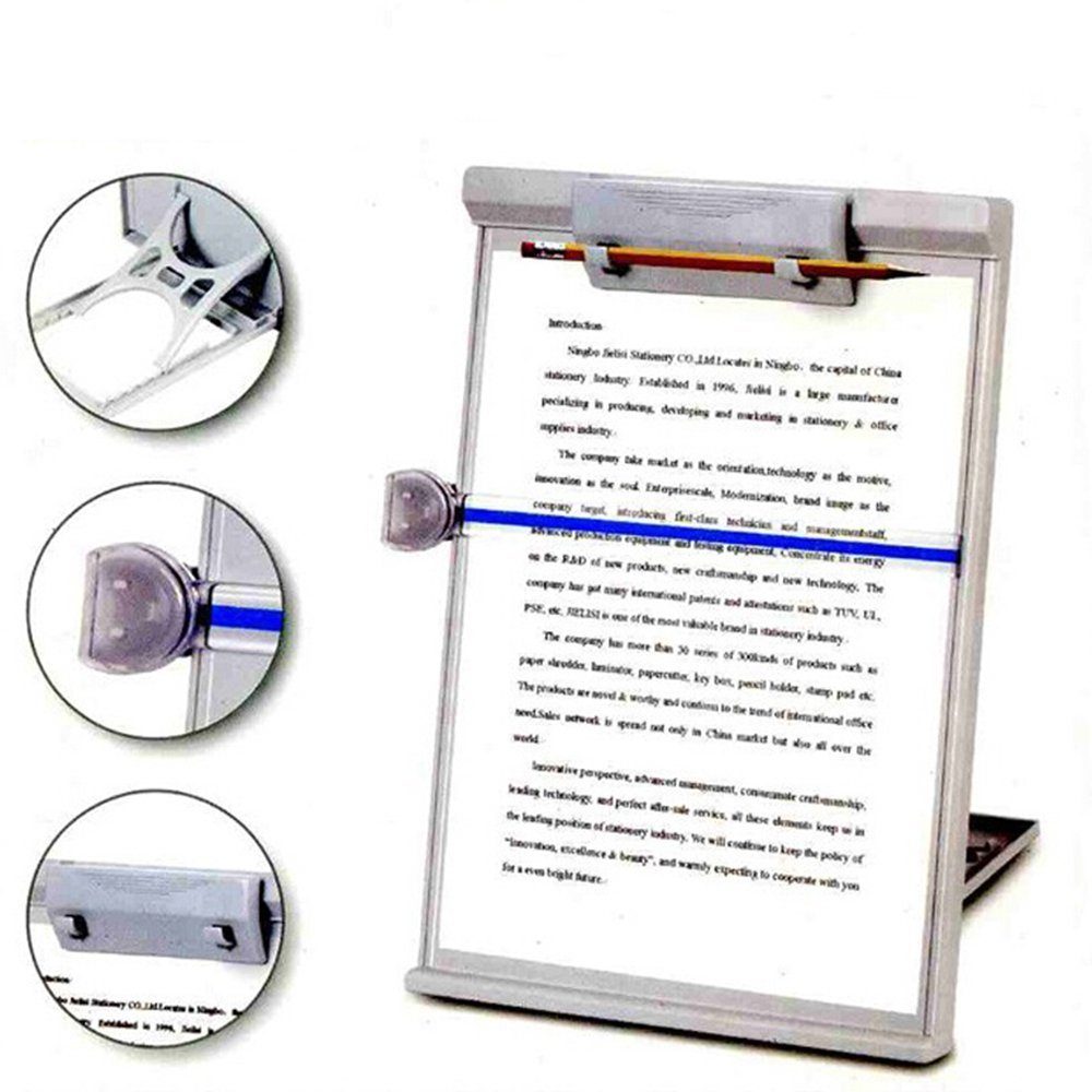 Book Holder MMBOX Desktop Document Holder Copyholder Stand Typist with Adjustable Positions Stand and Reading Line Guide,Gray