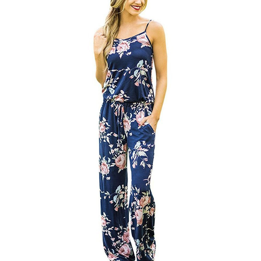 BLUETIME Women's Summer Floral Printed Halter Sleeveless Casual Spaghetti Strap Rompers (L, Blue)