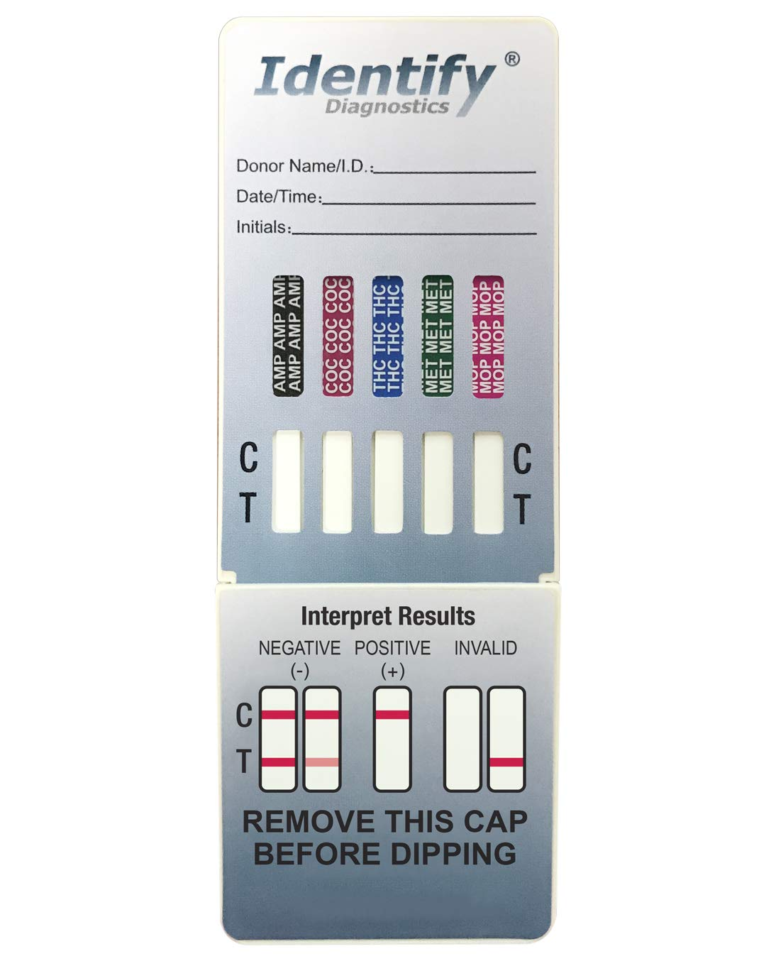 5 Pack Identify Diagnostics 5 Panel Drug Test Dip - Testing Instantly for 5 Different Drugs THC, COC, MOP, MET, AMP ID-CP5-DIP (5)