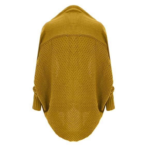 VJGOAL Otoño e Invierno para Mujer Casual Bat Manga Tejida Chaqueta de Punto Cardigan Jecket suéter de Manga Larga Suelta(Un tamaño,Amarillo): Amazon.es: ...