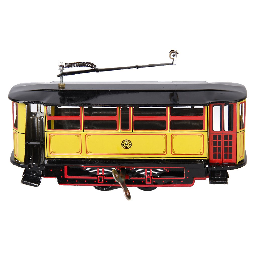 MagiDeal Vintage Tram Trolley Streetcar Tin Toy Collectible Gift w/ Wind-Up Key