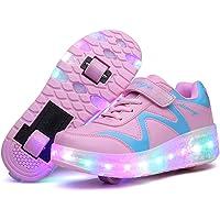 Zapatillas con Ruedas LED Luces Luminosas Zapatos de Roller Ajustable Doble Rueda Patines Calzado Deportivo al Aire…