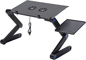Adjustable Laptop Stand, Portable and Multi-Purpose Aluminum Laptop Desk with Cooling Fans and Mouse Tray, Designed for Bed, Sofa or Table