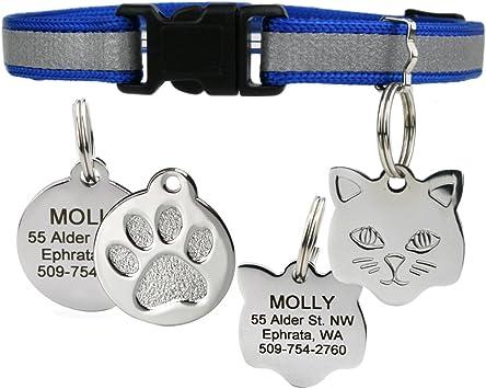 Custom Cat Collar Cat Collar 38 Inch Wide Cat Collar Cat Nametag Leather Cat Collar Embossed Cat Tag Collar Pet Collar