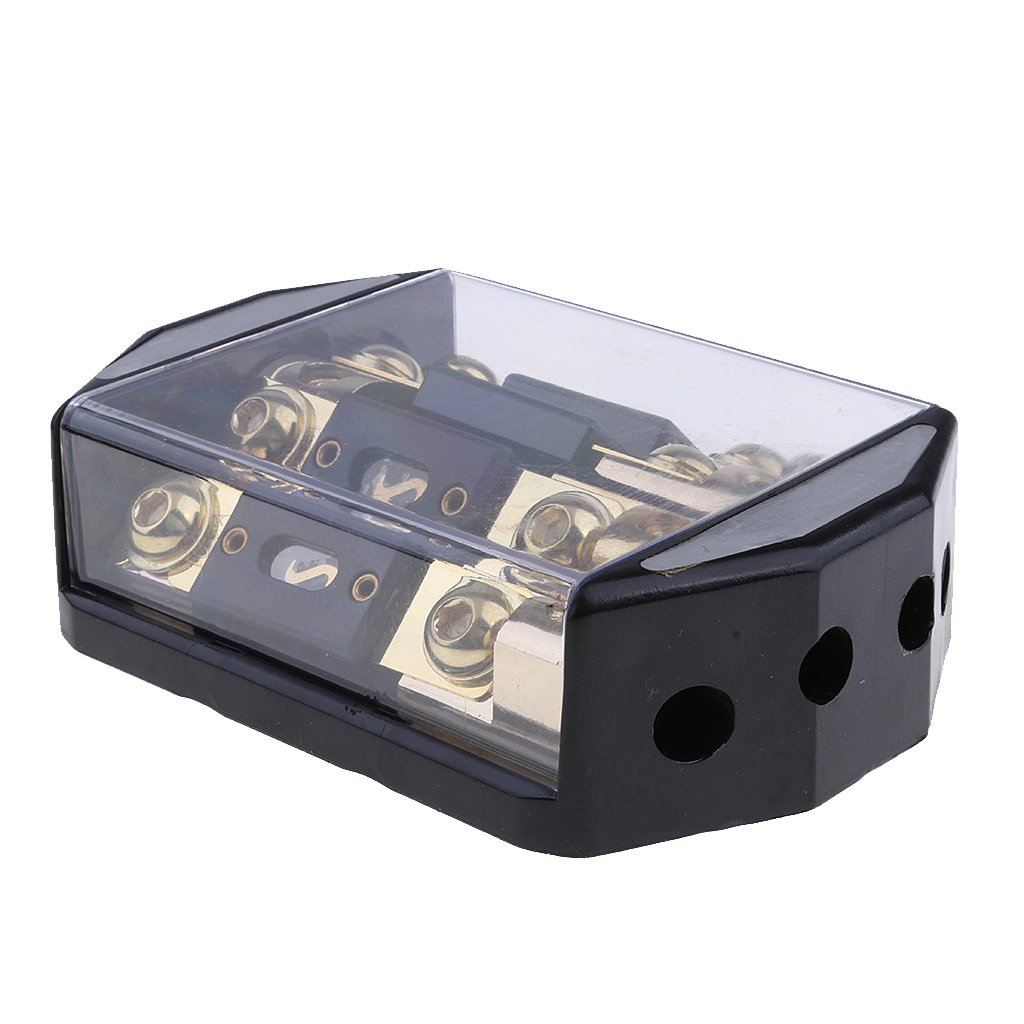 Baosity Portable 100A 4 Way Car Audio Fuse Blocks Distribution Holder Gold Plate Super Safety